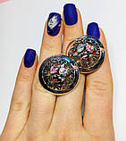 Круглые серебряные серьги с цветными фианитами Сэнс, фото 5