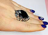 Кругле срібне кільце з обсидіаном Ромилда, фото 5