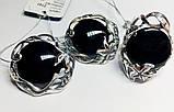 Круглый набор в серебре с обсидианом Ромилда, фото 4