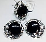 Круглый набор в серебре с обсидианом Ромилда, фото 5