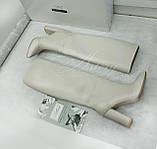 Женские белые кожаные сапоги на толстом каблуке, фото 5