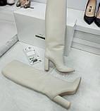 Женские белые кожаные сапоги на толстом каблуке, фото 6