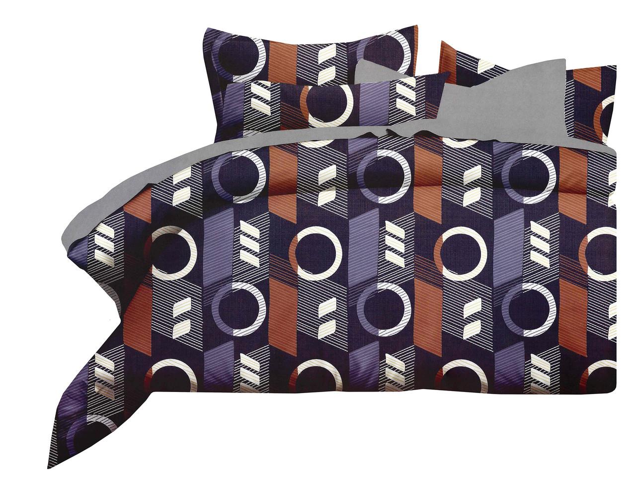 Комплект постельного белья Микроволокно HXDD-774 M&M 4112 Коричневый, Фиолетовый