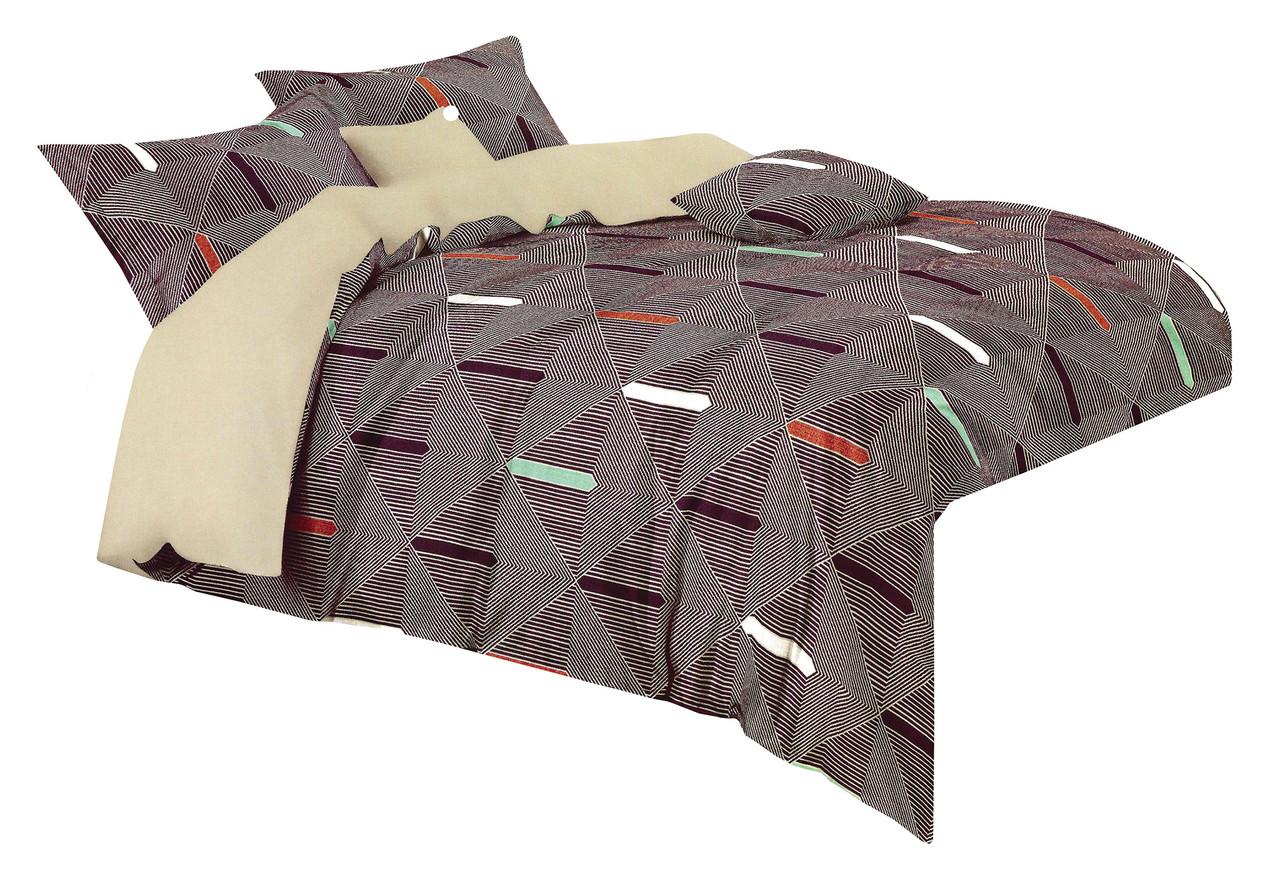 Комплект постельного белья Микроволокно HXDD-776 M&M 4136 Коричневый, Бежевый