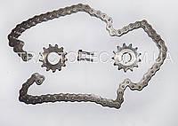 Набор звезд и цепь на привод почвофрезы мототрактора. Звезды 2 шт, разная посадка, цеп 12.7мм 68 звен