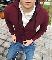 Худи на змейке толстовка свитшот с капюшоном мужское весеннее осеннее модное стильное бордовое, фото 1