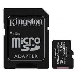 Картка пам'яті microSDXC 512GB Kingston class 10 UHS-I U3 Canvas Select Plus + SD Adapter SDCS2/512GB