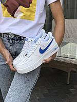 Кросівки жіночі  в стилі  Nike Air Force білі із синім  (ТОП ЯКІСТЬ)