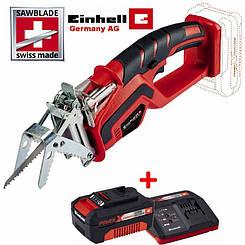 Аккумуляторная обрезная пила Einhell GE-GS 18 Li - Solo + зарядное устройство и аккумулятор 18V 4,0 Ah
