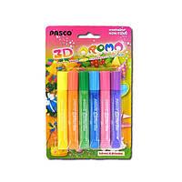 """Клей силиконовый с блестками на картоне """"Pasco"""" Aroma неоновые цвета (6 цветов,10 мл.)"""