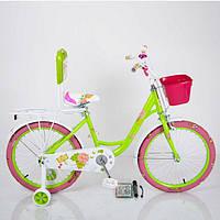 Детский двухколесный велосипед для девочки с корзинкой ROSES салатовый 20 дюймов