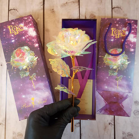 Роза с подсветкой розовая (на вид хрусталь) романтический подарок (Реальные фото!), фото 2