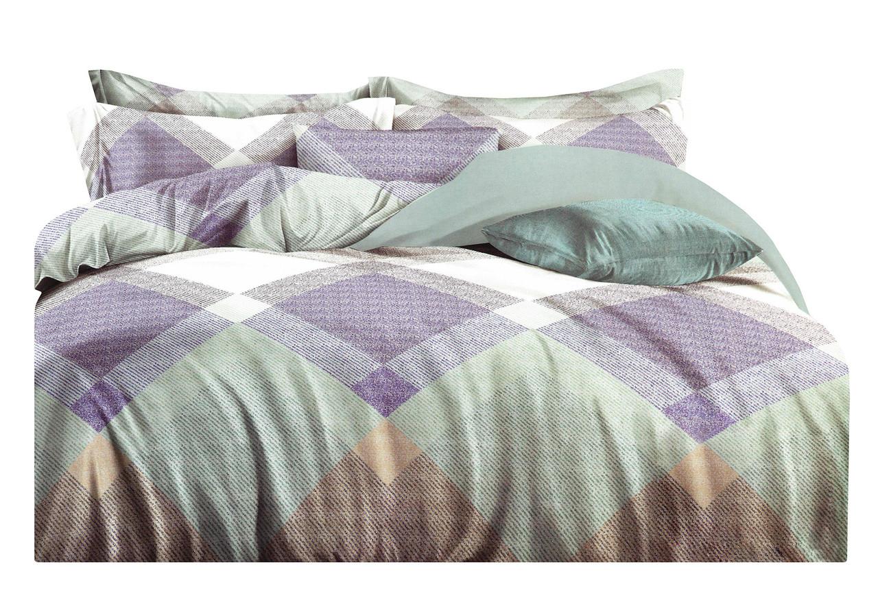 Комплект постельного белья Микроволокно HXDD-775 M&M 4228 Зеленый, Фиолетовый, Бежевый