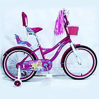 Детский двухколесный велосипед для девочки с корзинкой Flora фиолетовый 20 дюймов