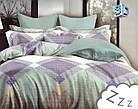 Комплект постельного белья Микроволокно HXDD-775 M&M 4259 Зеленый, Фиолетовый, Бежевый, фото 2