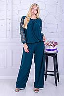 Женский костюм  брюки с блузой большой размер Бьюти малахит (50-64)