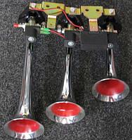 Сигнал 3-дудки пневмо 24V KH-103 металл хром музыка (компл.)