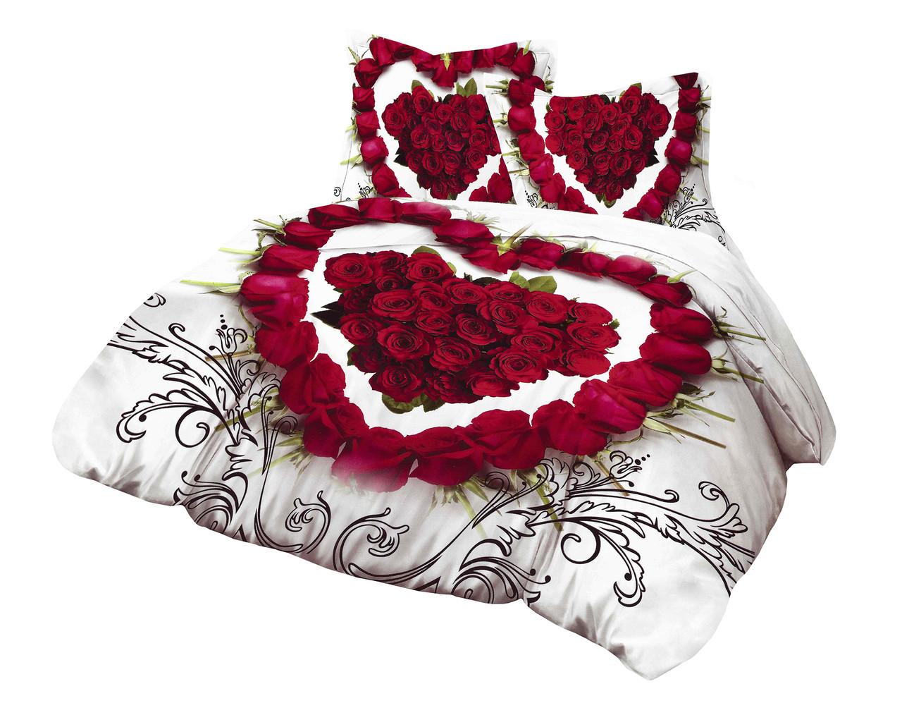 Комплект постельного белья Микроволокно HXDD-601 M&M 5201 Белый, Красный