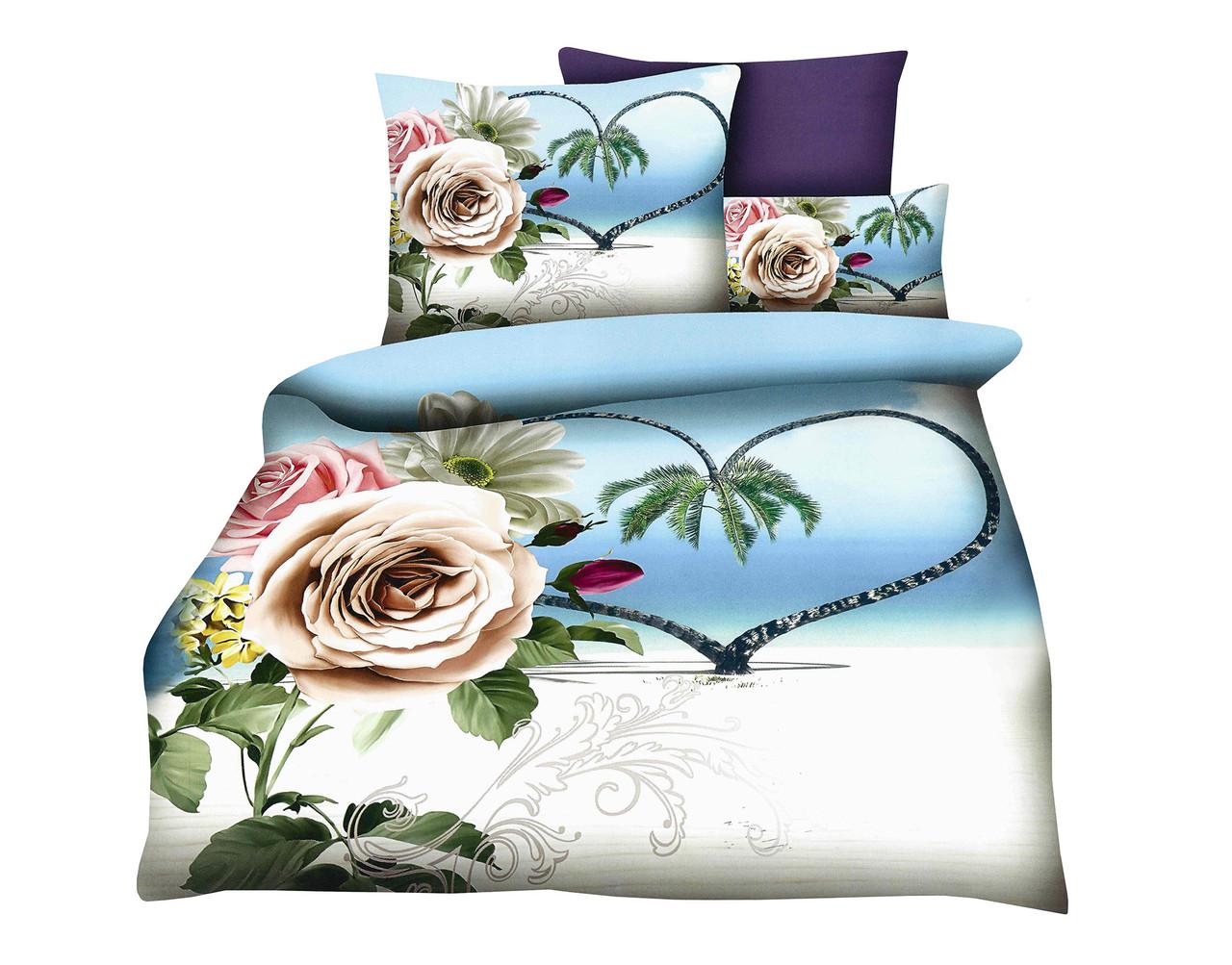 Комплект постельного белья Микроволокно HXDD-768 M&M 5218 Кремовый, Синий, Зеленый