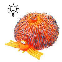 Игрушка антистресс Паук Гигант со светом оранжевый