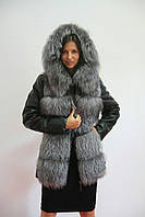 Куртка женская из экокожи, мех чернобурка первого сорта  от производителя