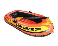 """Двухместная надувная лодка с веслами и насосом ручным Intex 58331 """"EXPLORER 200"""", до 95 кг"""