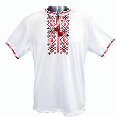 Вышитая футболка. Вышиванка мужская крестиком с кисточками, вискоза 52-54