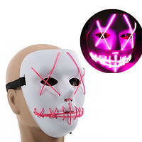 Неоновая Маска для вечеринок с подсветкой Led Mask 1 Pink - 149769