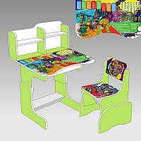Парта школьная Черепашки ниндзя с одним стулом 69х45 см., салатовый - 221363
