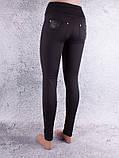 Лосини, Легінси жіночі на флісі з вставками чорні, фото 2