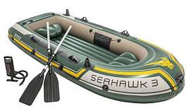 Лодка надувная Понтон с насосом и двумя веслами seahawk 3 os Intex 68380 68380NP