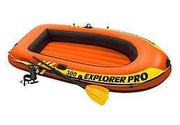 Лодка надувная Понтон с насосом и двумя веслами explorer pro 300 Intex 58358 58358NP