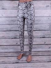 Лосины, Леггинсы женские змеиной раскраски (серый)
