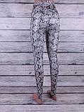 Лосины, Леггинсы женские змеиной раскраски (серый), фото 2