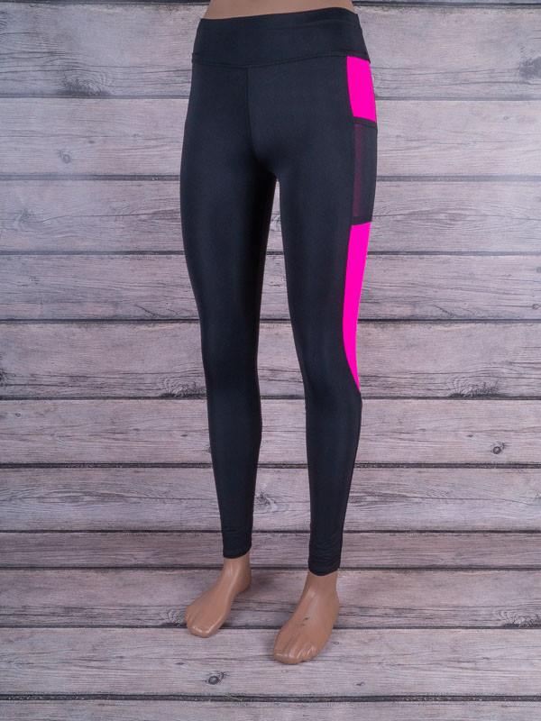 Лосины для спорта и фитнеса с цветными вставками (чёрный, тёмно-розовый)