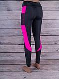 Лосины для спорта и фитнеса с цветными вставками (чёрный, тёмно-розовый), фото 2