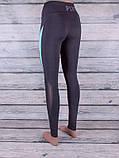 Лосини для спорту та фітнесу з кольоровими вставками (чорний, світло-зелений), фото 2