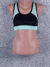 Женский топ для фитнеса и спорта с цветными вставками (чёрный, светло-зелёный, мята)