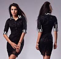 Женское черное строгое платье