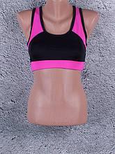 Женский топ для фитнеса и спорта с цветными вставками (чёрный, розовый)