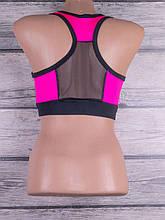 Женский топ для фитнеса и спорта с цветными вставками и вставками из евросетки (чёрный, розовый)