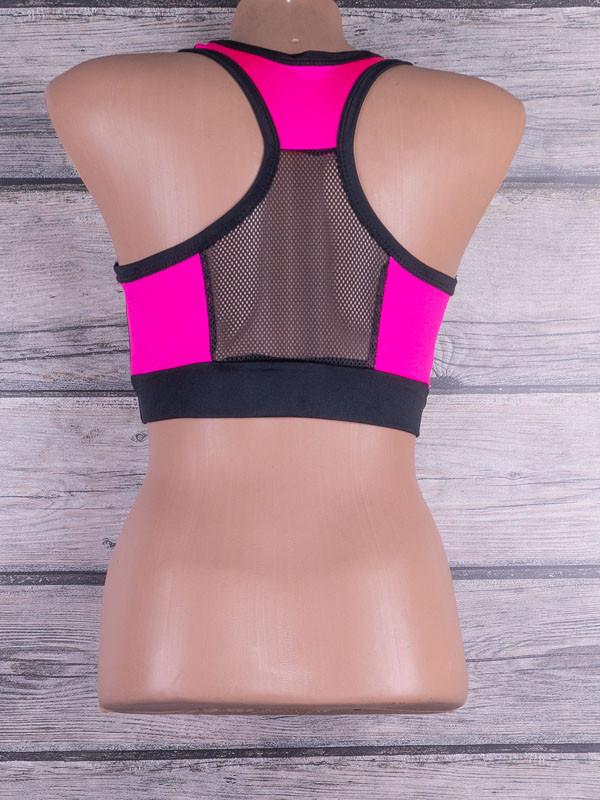 Жіночий топ для фітнесу і спорту з кольоровими вставками і вставками з евросетки (чорний, рожевий)