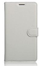 Кожаный чехол-книжка для Huawei P10 Lite белый