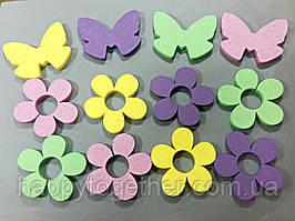 Цветы и бабочки из пенопласта крашенные 23 см
