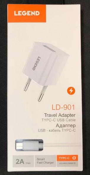 СЗУ адаптер 220V LEGEND LD901 1USB + Type-C 2A