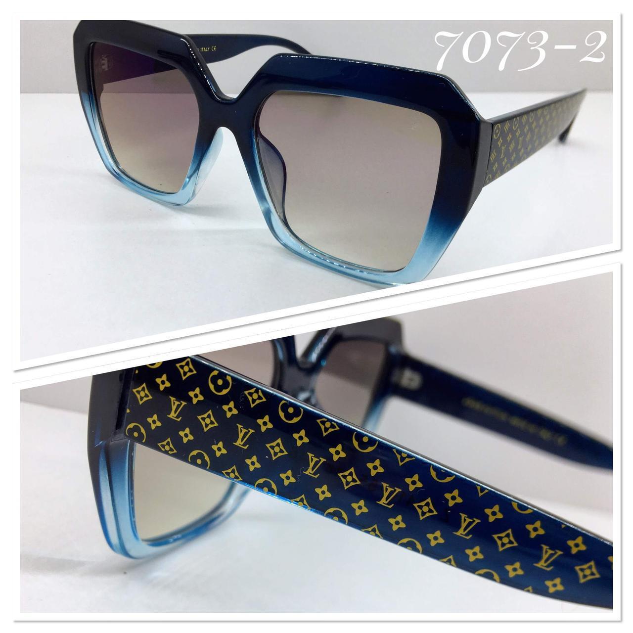 Женские солнцезащитные очки квадраты оверсайз синяя оправа градиент