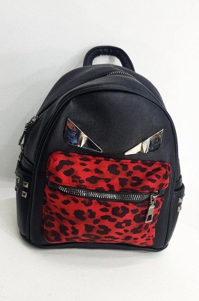 Рюкзак 9823 леопард красный 19 х 21 х 9 см