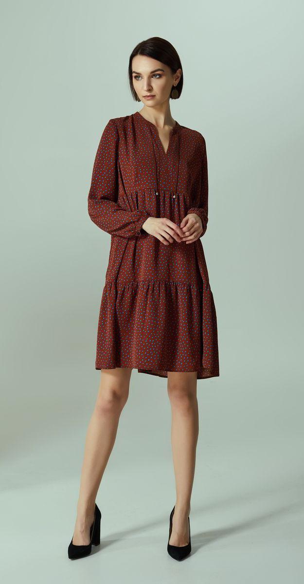 Платье Denissa Fashion-1280 белорусский трикотаж, бордо, 44