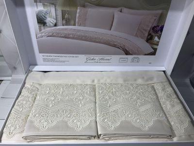 Комплект постельного белья с кружевом Gelin home Liya bej