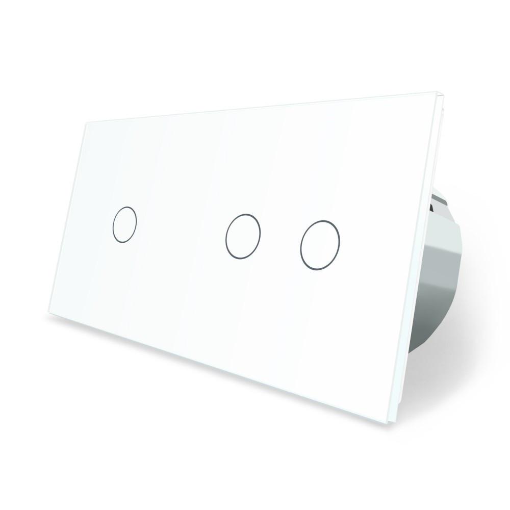 Сенсорний вимикач Livolo 3 канали (1-2) білий скло (VL-C701/C702-11)